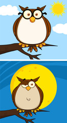 Wise Owl Cartoon Mascot Character. Collection Set