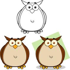 Owl Cartoon Mascot Character. Collection Set