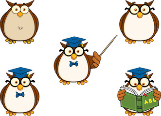 Wise Owl Teacher Cartoon Mascot Character 1. Collection Set