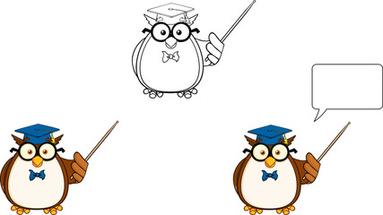Wise Owl Teacher Cartoon Mascot Character 3. Collection Set