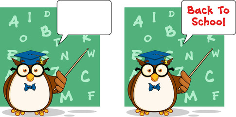 Wise Owl Teacher Cartoon Mascot Character 4. Collection Set