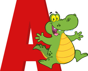 Funny Cartoon Alphabet-A With Alligator