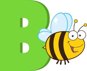 Funny Cartoon Alphabet-B With Bee