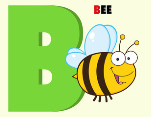 Funny Cartoon Alphabet-B With Bee And Text