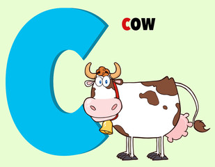 Funny Cartoon Alphabet-C With Cow And Text