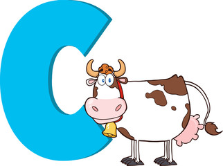 Funny Cartoon Alphabet-C With Cow