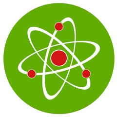 Atom sign icon.