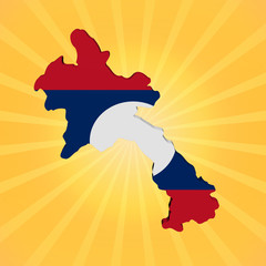Laos map flag on sunburst illustration