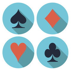 Playing card's flat vector