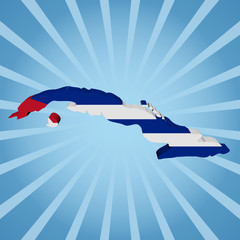 Cuba map flag on blue sunburst illustration