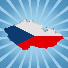 Czech Republic map flag on blue sunburst illustration