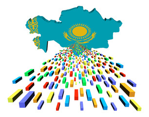 Kazakhstan map flag with containers illustration
