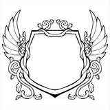 glory frame in Shield shape with wing vintage drawing vector poster