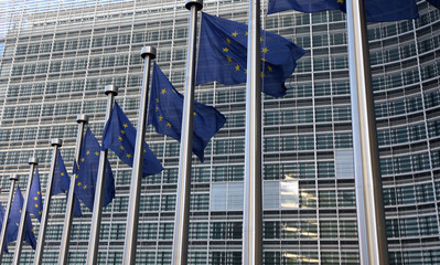 European flags in front  commission on Brussels.