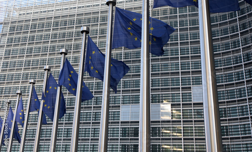 European flags in front  commission on Brussels. - 68595840