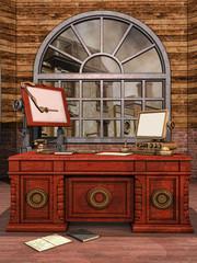 Biurko z komputerem retro, książkami i notesami