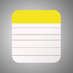 Yellow Notepad Icon.Flat Design