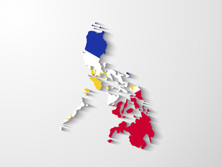 Philippines map with shadow effect presentation