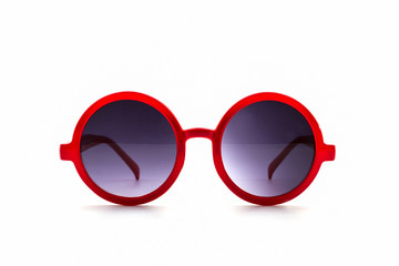 Stylish red sunglasses.