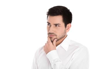 Portrait: nachdenklicher skeptischer Mann isoliert auf Weiß