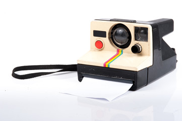Vintage Folding Instant Camera Isolated on a White Background
