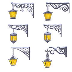Vintage street lanterns with snow