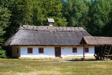 Wooden houses in summer in Pirogovo museum, Kiev, Ukraine