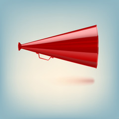 Red megaphone on colored background