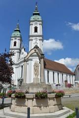 Stiftskirche Sankt Peter mit Brunnen Bad Waldsee