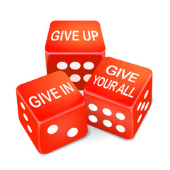 give up or in your all words on dice