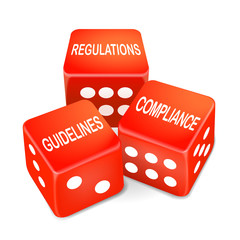 regulations, guidelines and compliance words on three red dice