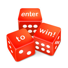 enter to win words on three red dice
