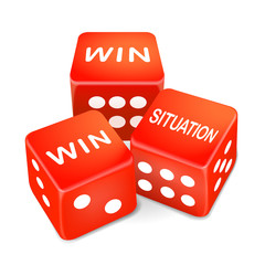 win situation words on three red dice