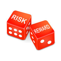risk and reward words on two red dice