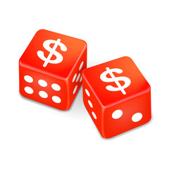 money signs on two red dice