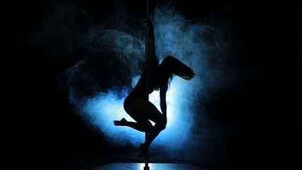 2of23 Silhouette of a sexy female pole dancing