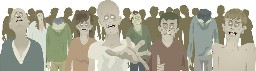 Gaggle of zombies footer on white