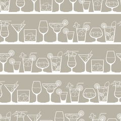 Alcohol drinks and cocktails seamless pattern in flat style.