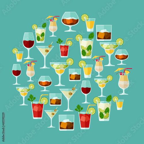 Alcohol drinks and cocktails for menu or wine list.