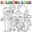 Coloring book school kids theme 1