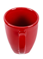 Red mug with hand on white