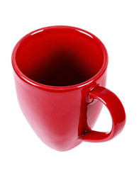 RED MUG WITH HAND IN WHITE BACKGROUND