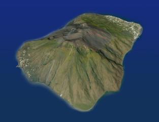 Isola di Stromboli, vista aerea, vulcano eruzione Italia