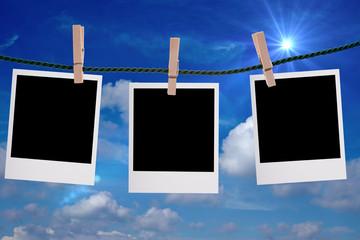 Fotos an einer Wäscheleine