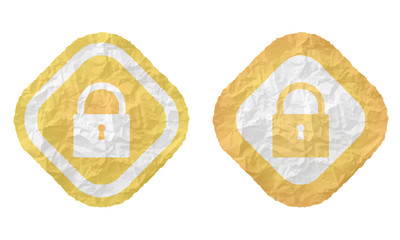 two frames with texture crumpled paper and padlock