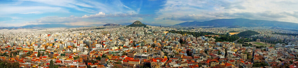 Aerial view of Athen with Lycabettus Hill
