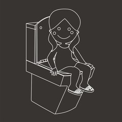 Cristina en el WC líneas fondo oscuro