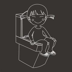 Chinita en el WC líneas fondo oscuro