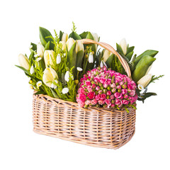 flower composition in basket