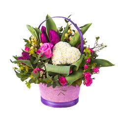flower composition in basket